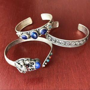 Jewelry - Tibetan silver bracelets with lapis